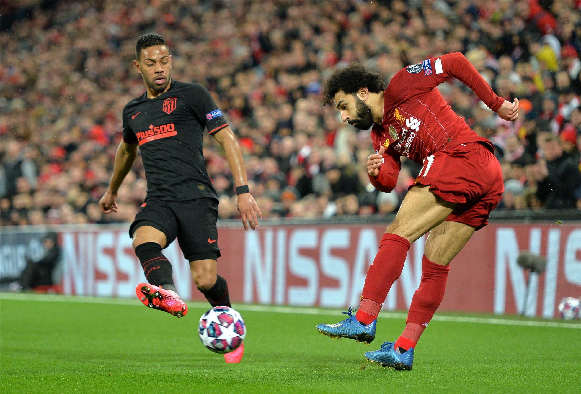 محمد صلاح خلال مباراة أتلتيكو مدريد