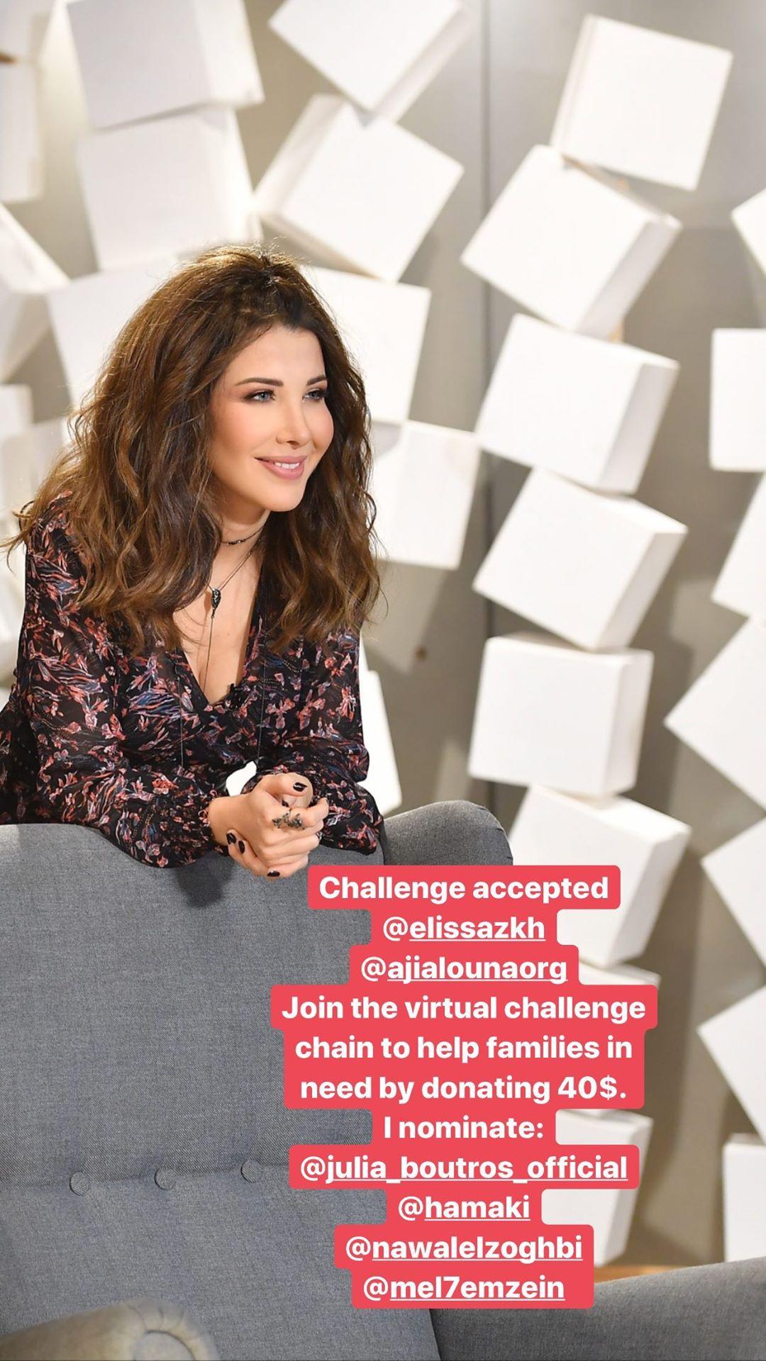 نانسي عجرم قبلت التحدي وقدمت 10 آلاف دولار لمستشفى رفيق الحريري، و10 آلاف أخرى للصليب الأحمر اللبناني
