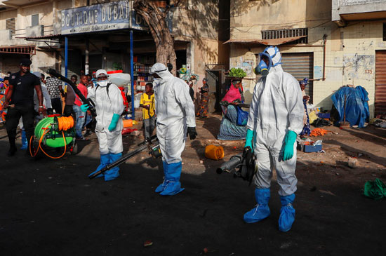 رجال التعقيم فى السنغال