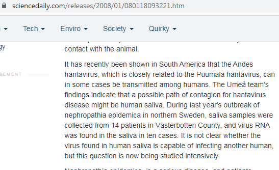 انتقال فيروس هانتا بين البشر