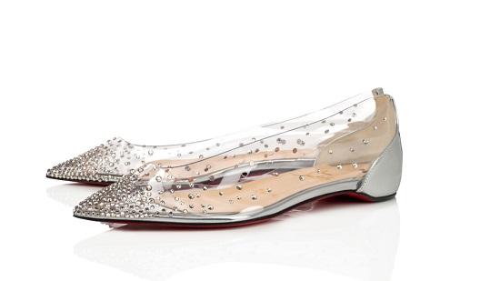 حذاء فلات شفاف مرصع