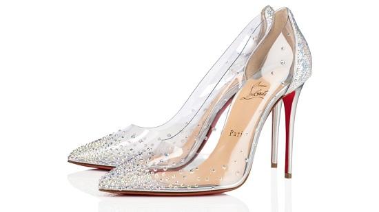 حذاء بكعب شفاف مرصع