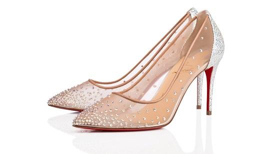 حذاء قماش شفاف ومرصع