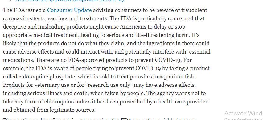 تحذيرات هيئة الاغذية والادوية الامريكة