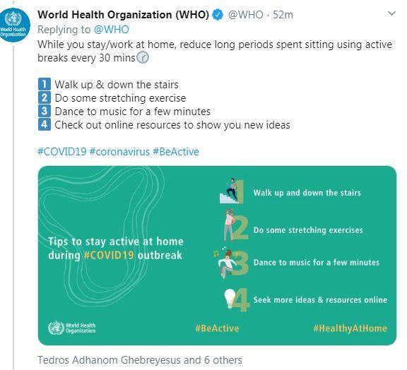 صفحة منظمة الصحة العالمية على تويتر