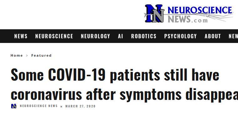 التعافى من كورونا لا يعنى التخلص من الفيروس
