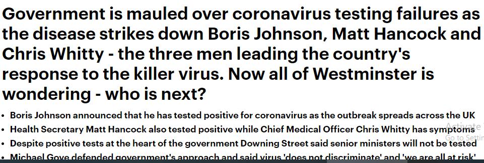 فسلالحكومة البريطانية فى السيطرة على الفيروس