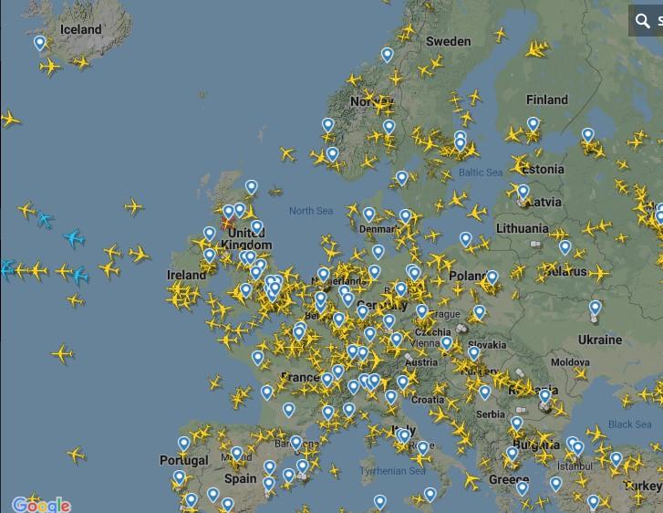 حركة الطيران فى أوروبا