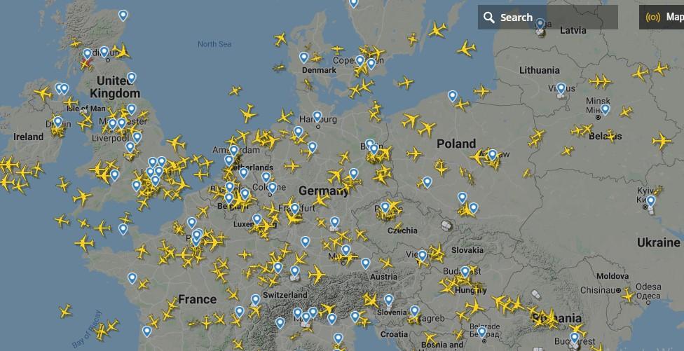 انخفاض حركة الطيران فى أوروبا
