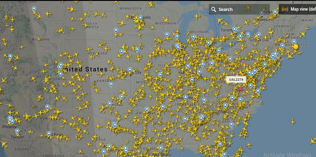 كثافة حركة الطيران فى أمريكا