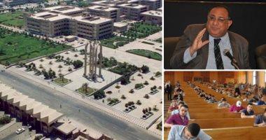 جامعة حلوان ورئيس الجامعة وطلاب جامعيين