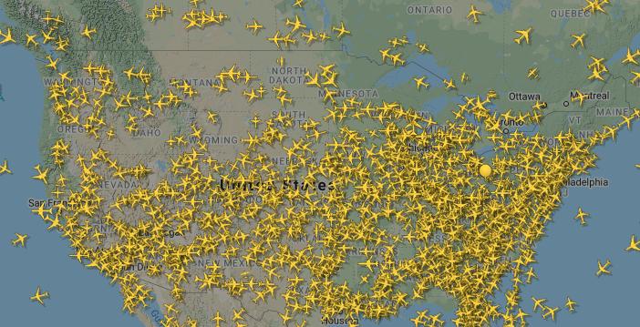 حركة الطيران فى أمريكا يوم 28 مارس
