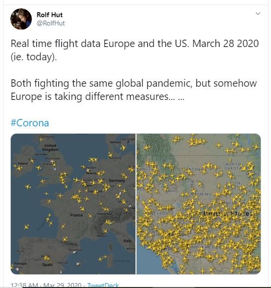 مقارنة بين عدد الرحلات الجوية فى أمريكا وأوروبا