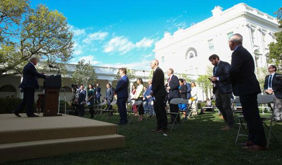 ترامب خلال المؤتمر الصحفى بحديقة الورد بالبيت الأبيض