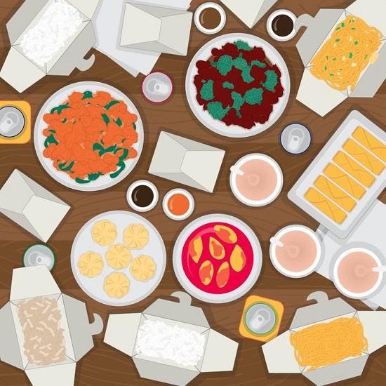 في هذا اللغز ، هناك زوج من عيدان تناول الطعام يختبئ في طعام تناول الطعام في الخارج. هل يمكنك العثور عليهم؟