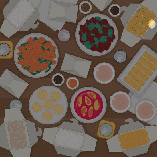 يتم إخفاء عيدان تناول الطعام في حاوية المعكرونة.