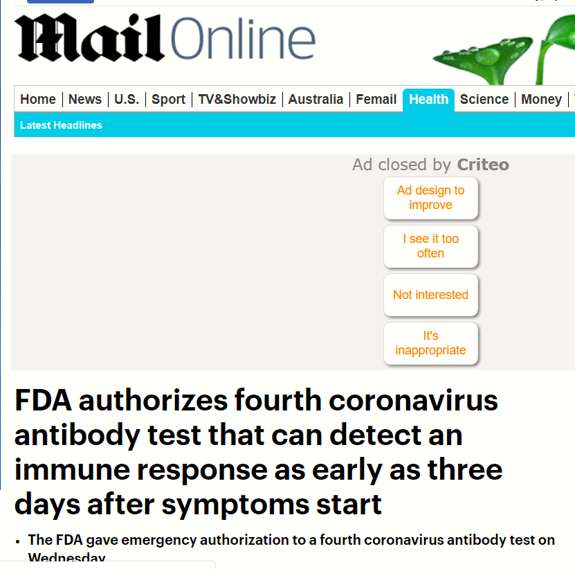 FDA  اختبار الأجسام المضادة
