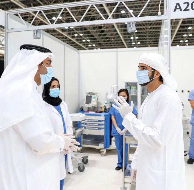 ولى عهد دبى يفتتح المستشفى الميداني لعزيز قدرات مواجهة فيروس كورونا  (2)