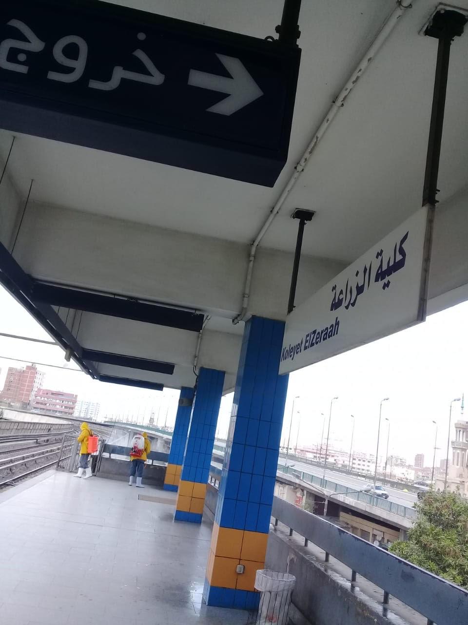 المترو يواصل أعمال تعقيم وتطهير القطارات والمحطات ضد كورونا (3)