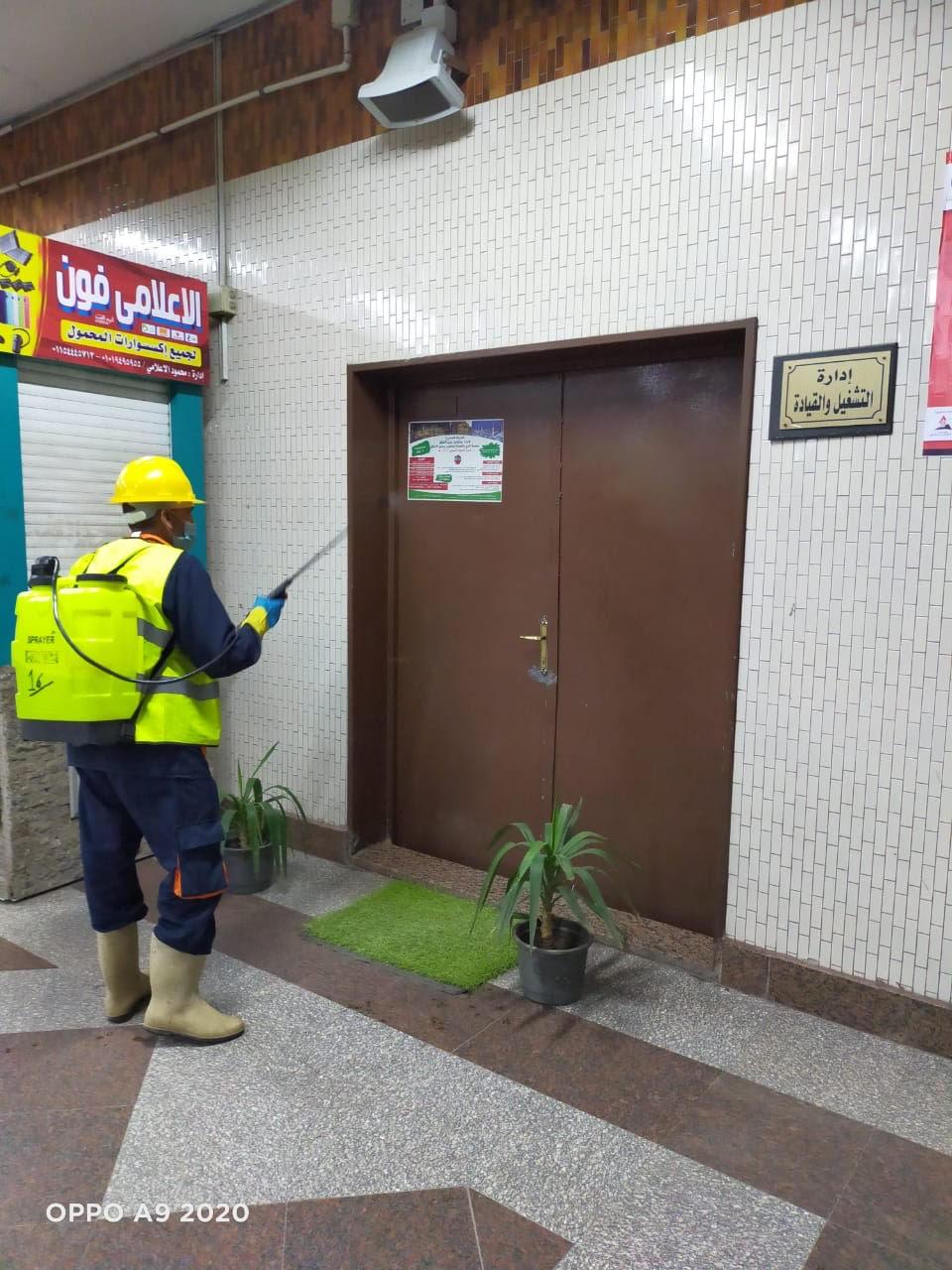 المترو يواصل أعمال تعقيم وتطهير القطارات والمحطات ضد كورونا (14)