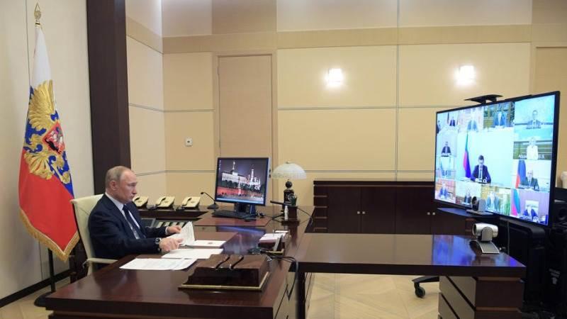 بوتين خلال اجتماع الفيديو