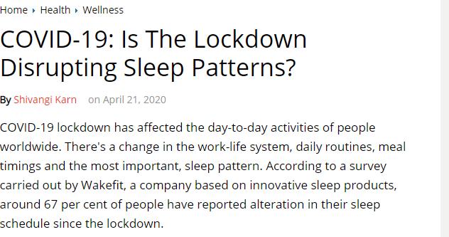 تاثير الاغلاق على انماط النوم