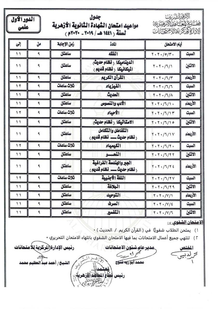 جدول امتحانات الشهادة الثانوية للقسم العلمى