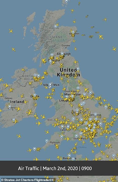 رحلات الطيران ببريطانيا فى 2 مارس 2020
