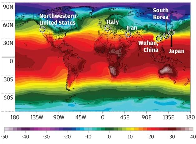 خريطة تأثير درجة الحرارة على فيروس كورونا