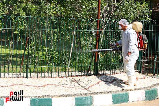 اعمال  تطهير  بحديقة حيوان الجيزة  ضد كورونا  (1)