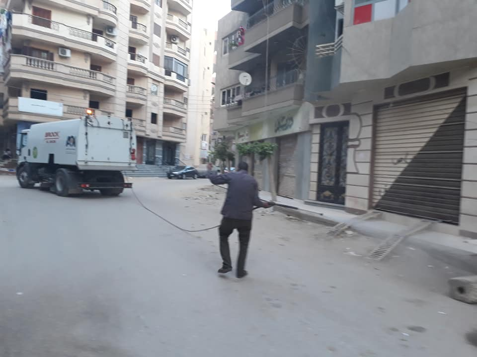 تعقيم شوارع مدينة بنها