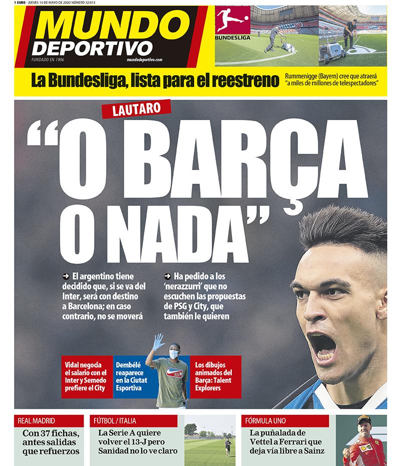 غلاف صحيفة موندو ديبورتيفو الاسبانية صباح الخميس