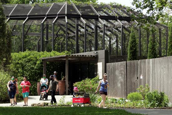 الزوار يتجولون داخل الحديقة