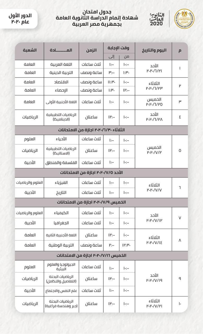 وزير التعليم يعتمد جدول امتحانات الثانوية العامة الجديد.. تبدأ 21 ...