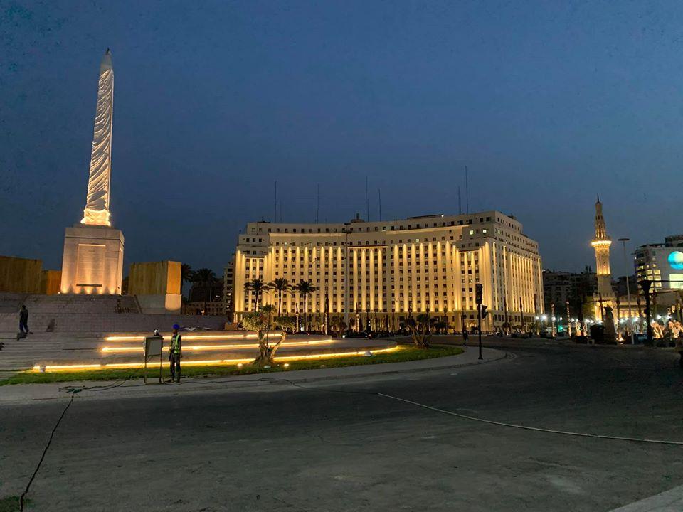 التجارب الأولية لإضاءة ميدان التحرير (2)