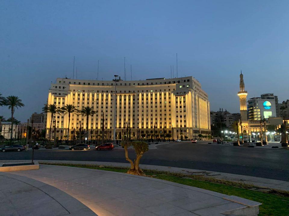 التجارب الأولية لإضاءة ميدان التحرير (1)