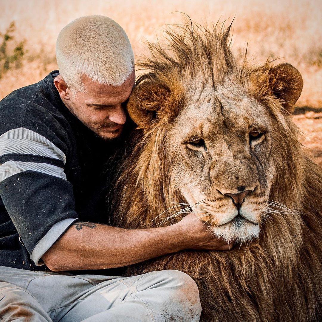 مروض الحيوانات دين شنايدر يفاجئ جمهوره بجلسة تصوير مع ضبع وأسد  (4)