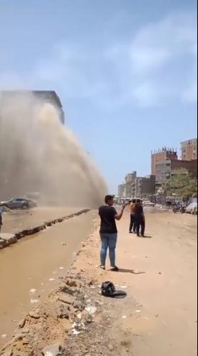 كسر ماسورة مياه بالمطرية (8)