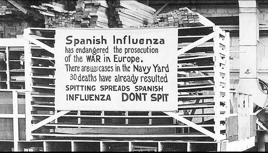 لافتة توعوية عن الإنفلونزا الإسبانية