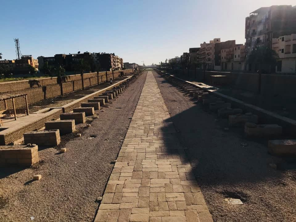 طريق الكباش الفرعونى بالأقصر بعد التجهيز للإفتتاح