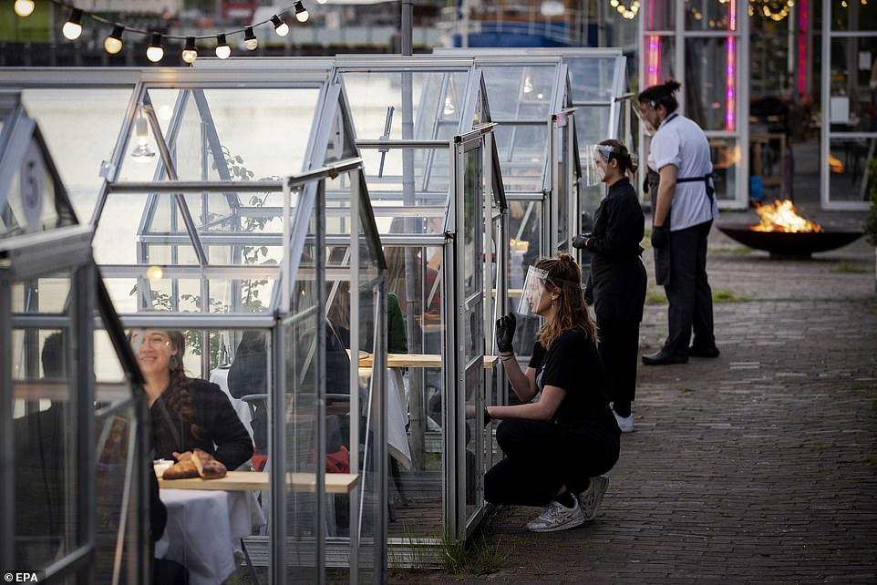 مطعم هولندى يصمم غرفا زجاجية لمنع تفشى كورونا (2)