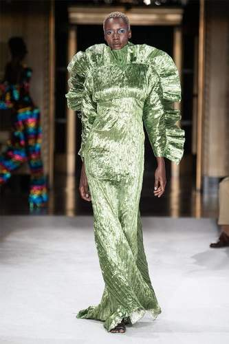 فستان ميتاليك أخضر