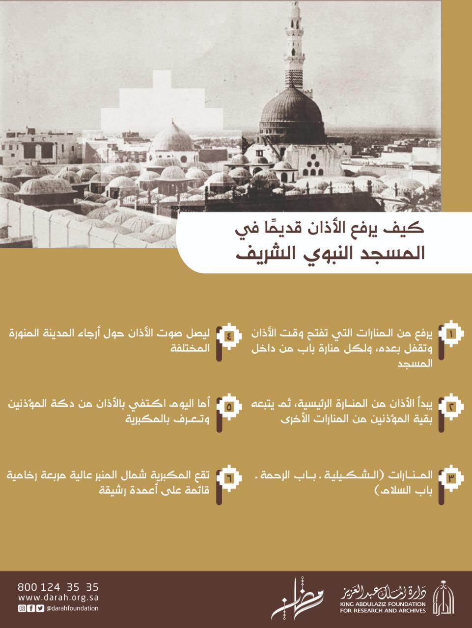 الأذان قديما فى المسجد النبوى الشريف كيف كان يرفع انفوجراف جريدة الشعلة الإلكترونية