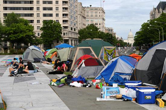 خيام للمتظاهرين فى العاصمة الأمريكية