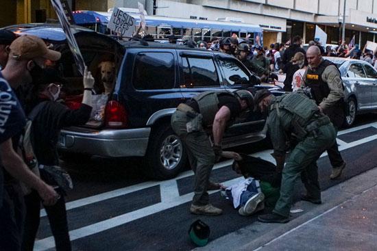 الشرطة تلقى القبض على أحد المتظاهرين