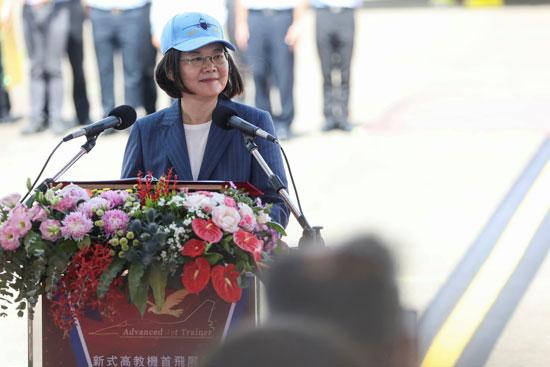 رئيسة تايوان تلقي كلمة بمناسبة تدشين الطائرة