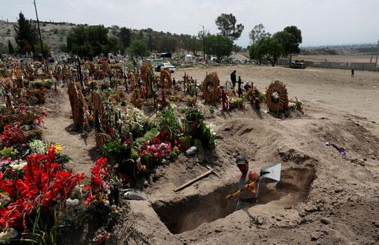 خلال دفن أحد ضحايا كورونا