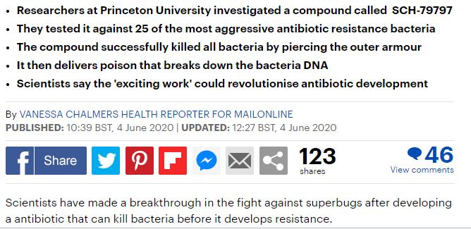 بحث جديد على نوع جديد من المضادات الحيوية
