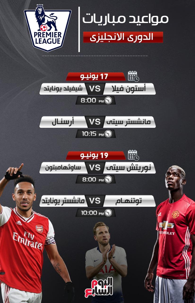 مواعيد مباريات الدورى الانجليزي 1