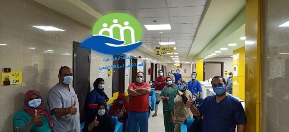 فرحة الفريق الطبى بخروج 23 حالة تعافى بين المصابين بنجاح كبير